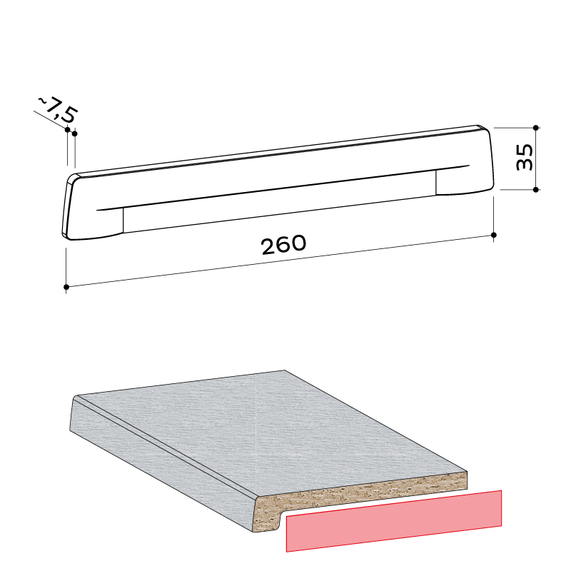 21.033.001 Seitenabschlusskappe Elegance 34 - https://www.werzalit.com/fr/produit/compact-innenfensterbank-600cm/