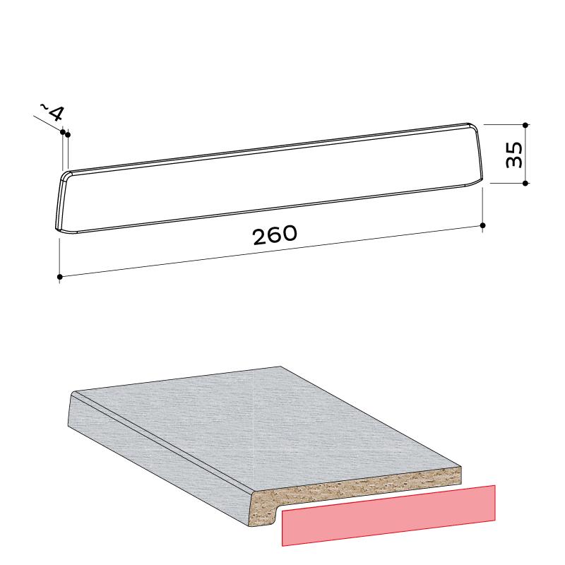 21.303.001 Seitenabschlusskappe 35x260 1 - https://www.werzalit.com/fr/produit/compact-innenfensterbank-600cm/