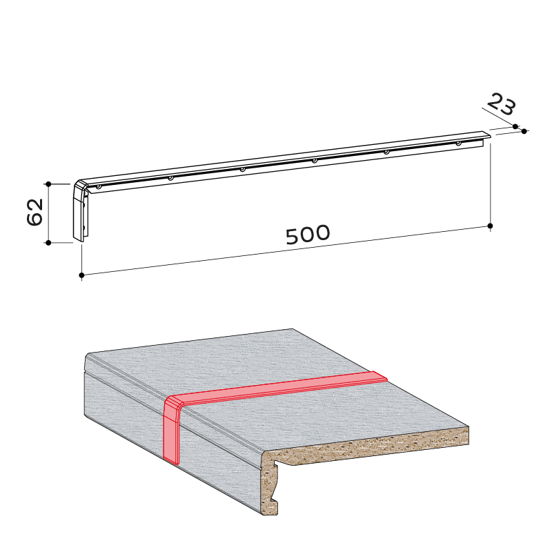 24.084.001 Fensterbank Verbindungsprofil compact system 65