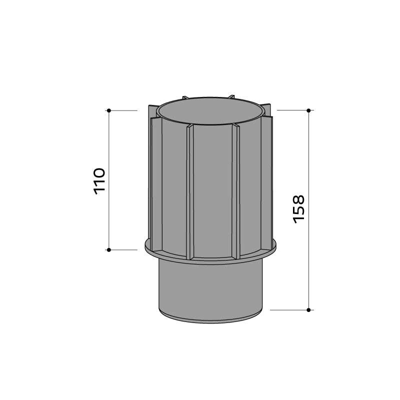 Stelzlager Adapter 110 22 483 055 - https://www.werzalit.com/nl/product/stelzlager-adapter/